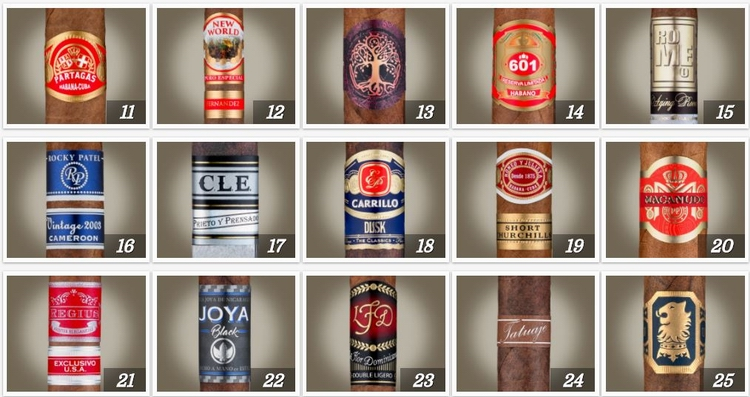 Cigar Aficionado TOP 25 CIGARS OF 2017 - 2