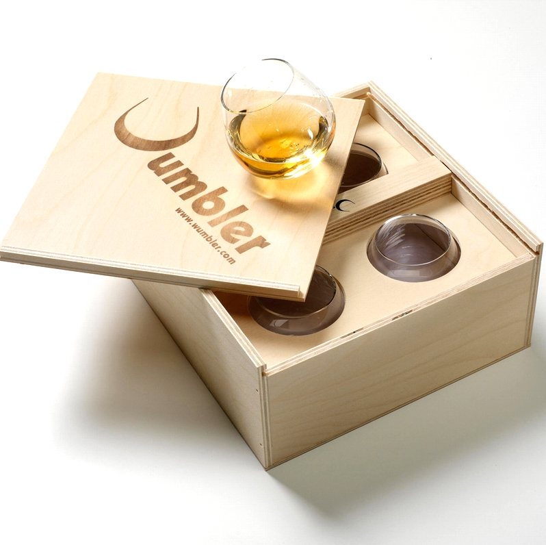 WUMBLER Mini Holzbox mit 4 Gläsern