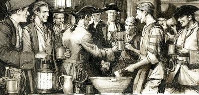 Britische Seeleute bei der Rum-Ausgabe