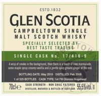 GLEN SCOTIA 2008 2018 Cask Strength Single Cask