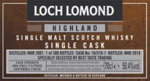 LOCH LOMOND 2001 2018 Sauternes Single Cask