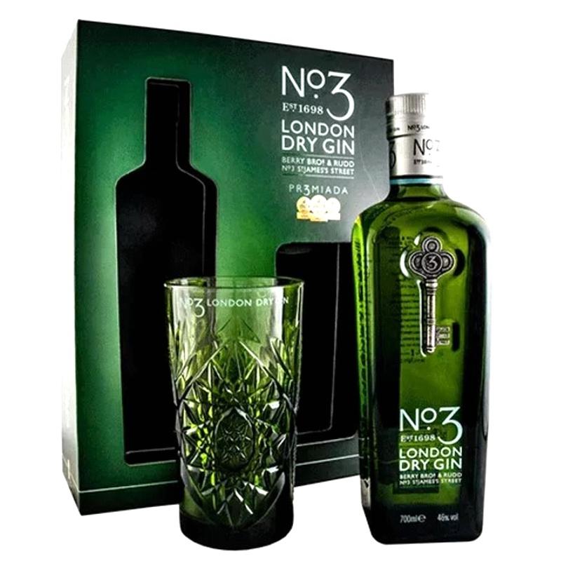 NO. 3 London Dry Gin mit geschliffenem Longdrink-Glas