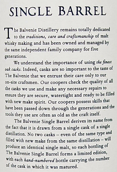 Tasting Notes Balvenie 12 Year Old Single Barrel First Fill